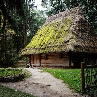 Maisons en bois ukrainiennes authentiques avec toit de chaume et de paille