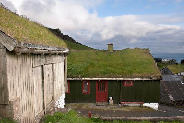 Maisons dans le village de l'île mykines, îles féroé