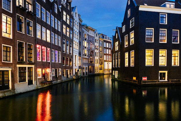 Maisons typiques d'amsterdam, pays-bas