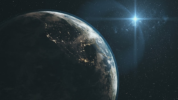Majestic earth zoom in orbit starry background. planète rotation surface star light glow outer space deep universe exploration concept animation 3d