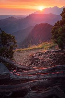Majestueux coucher de soleil doré avec des poutres ensoleillées dans un grand paysage de montagne. parc national des hautes tatras, pologne
