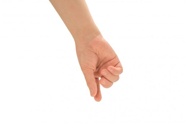 Mâle main isolée sur blanc.