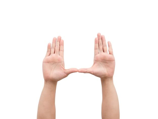 Mâle mains geste carré blanc isolé