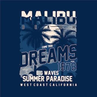 Malibu beach come real rêves paradis d'été silhouette vecteur graphique
