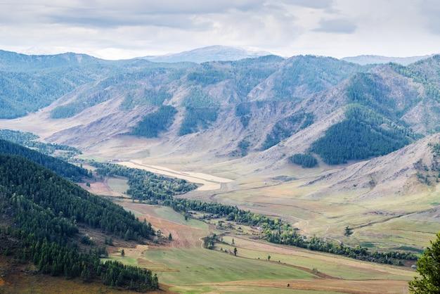 Maly ilgumen river valley pic enneigé du mont akkem à l'horizon montagne altaï russie