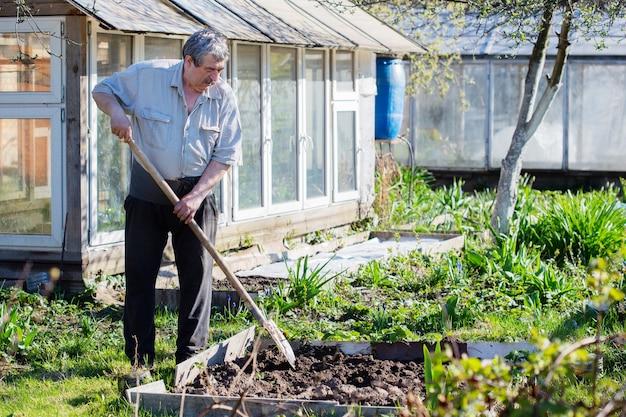 Man avec pelle creusant un lit de jardin ou une ferme