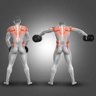 Man soulever des poids et l'exercice épaules et le dos