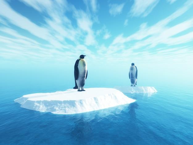 Manchots 3d sur glace flottante