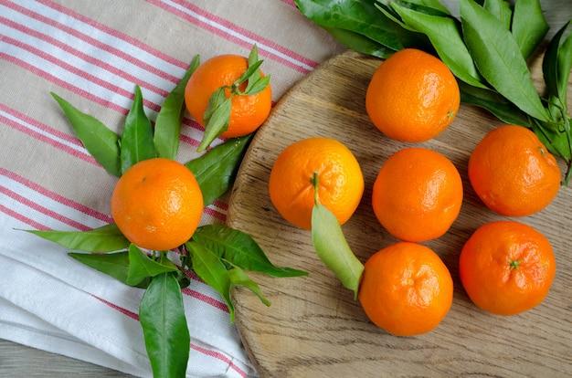 Mandarines mûres, vue de dessus