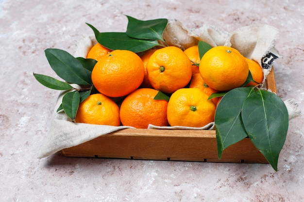 Mandarines (oranges, clémentines, agrumes) avec des feuilles vertes sur une surface en béton avec copie espace