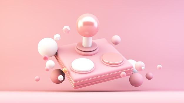 Manette de jeu rétro rose en rendu 3d