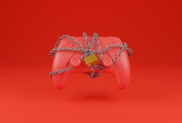 Manette de jeu rouge avec une chaîne emmêlée et un cadenas le fermant sur un fond rouge. concept de joueur. rendu 3d