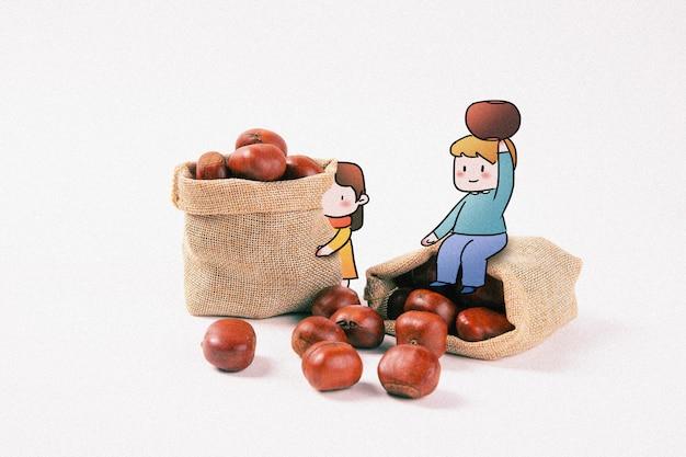 Manger des marrons: illustration de la photographie créative mélangée