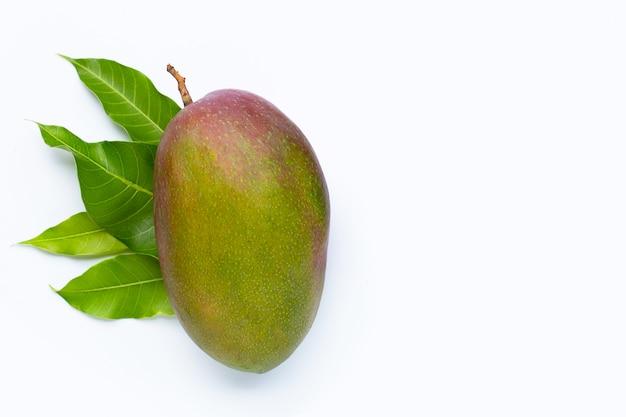 Mangue, fruits tropicaux avec des feuilles sur fond blanc. vue de dessus