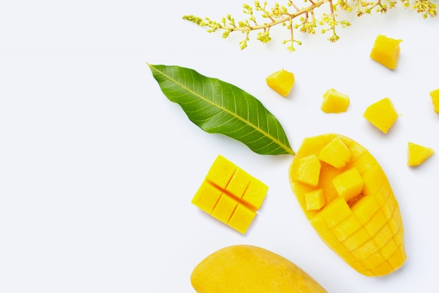 Mangue de fruits tropicaux sur fond blanc