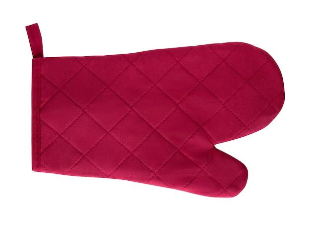 Manique rouge, bordeaux, four-gant isolé sur fond blanc
