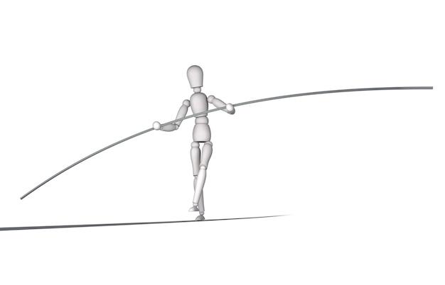 Mannequin en équilibre sur slackline avec fond blanc isolé.