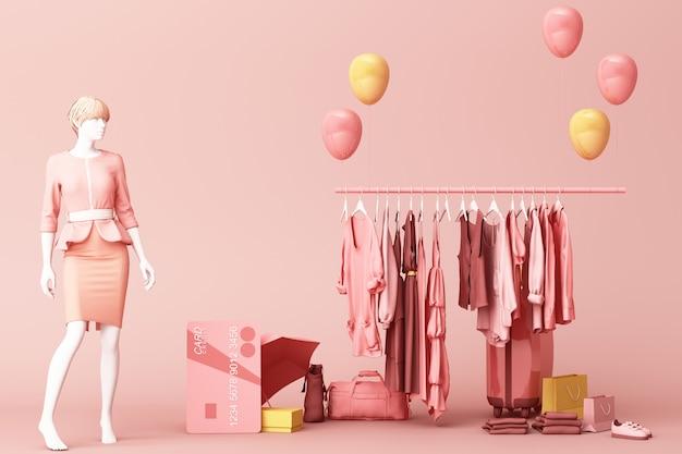 Mannequinson de vêtements un cintre entourant par sac et accessoire de marché avec carte de crédit sur le sol rendu 3d