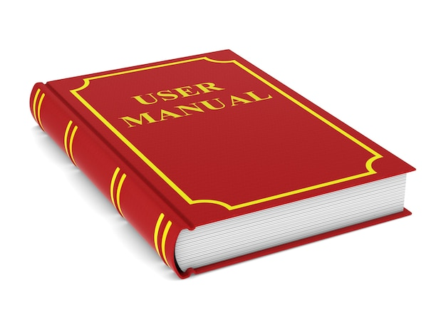 Manuel de l'utilisateur. livre rouge. isolé, rendu 3d