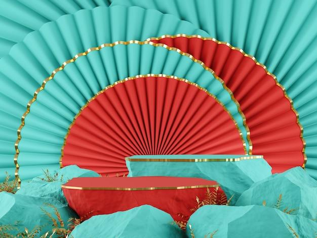 Maquette 3d arrière-plan oriental moderne turquoise rouge contraste couleur concept rendu 3d