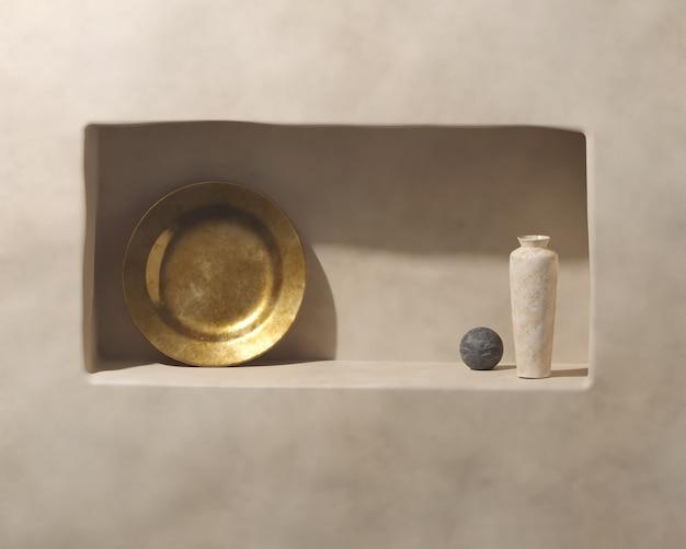 Maquette 3d sur podium bohème minimaliste dans le style du milieu du siècle.