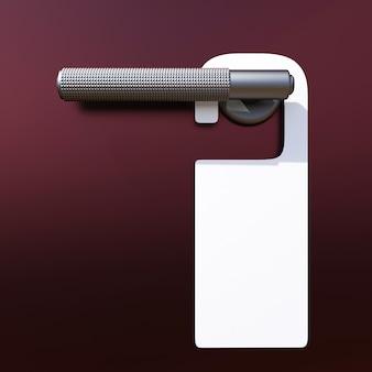 Maquette d'accroche-porte. accroche-porte blanc blanc sur le gros plan de la poignée de porte. place pour votre texte. illustration 3d