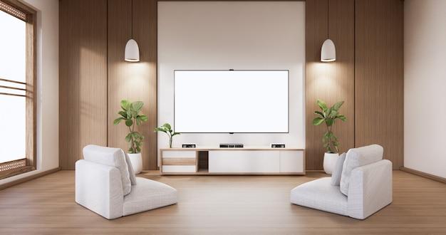 Maquette d'affichage d'armoire de télévision avec une salle blanche minimaliste moderne