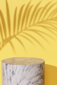 Maquette affichage bleu feuille d'ombre tropicale rendu 3d sur jaune