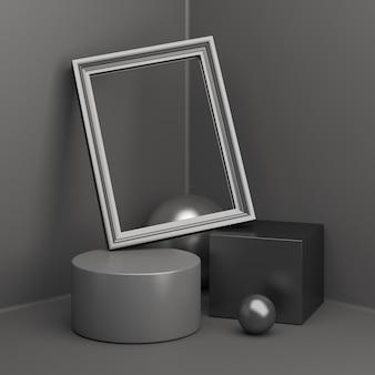 Maquette d'affichage de podium de vente vendredi noir avec cadre de cylindre de boîte, rendu 3d