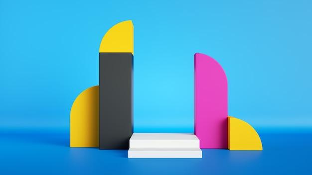 Maquette d'affichage de produit vide de vitrine vide avec podium blanc de scène carrée