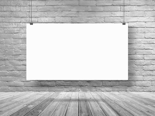 Maquette affiche bannière suspendue sur la salle de mur de briques blanches
