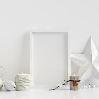 Maquette affiche cadre blanc intérieur décoration de noël scandinave d'hiver