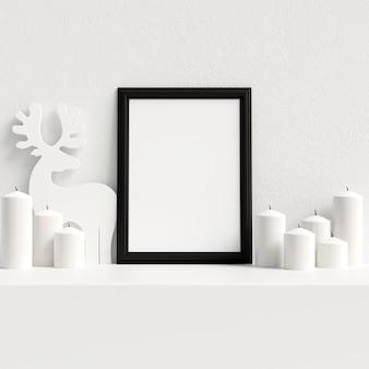 Maquette affiche cadre décoration de noël scandinave intérieur d'hiver