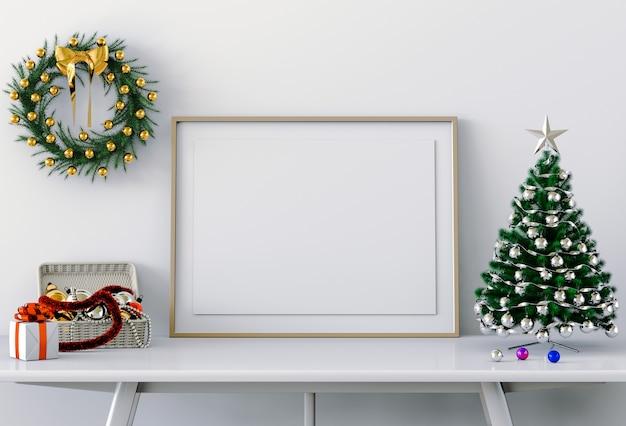 Maquette affiche cadre intérieur de noël. rendu 3d