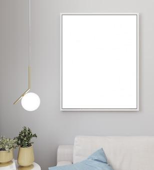 Maquette d'affiche ou cadre photo dans un fond intérieur minimaliste moderne, style scandinave, illustration 3d