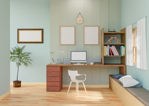 Maquette affiche cadre en salle de travail rendu 3d.