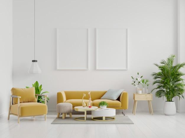 Maquette d'affiche avec cadre vertical debout sur le sol à l'intérieur du salon avec canapé jaune.