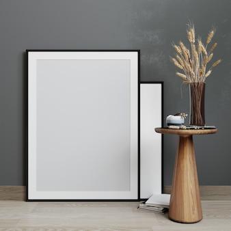 Maquette d'affiche avec cadre vertical debout sur le sol à l'intérieur du salon avec table en bois sur fond de mur gris foncé. rendu 3d.