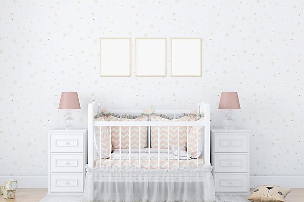 Maquette affiche chambre de bébé et papier peint étoile d'or
