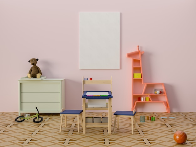 Maquette affiche dans l'intérieur de la chambre d'enfant.