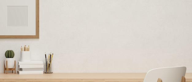 Maquette d'affiche et espace de copie pour l'affichage du produit dans un espace de travail à domicile confortable avec table en bois, papeterie et décoration, rendu 3d, illustration 3d