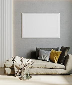 Maquette d'affiche horizontale avec cadre blanc à l'intérieur du salon avec canapé, oreiller jaune et décoration. rendu 3d, illustration