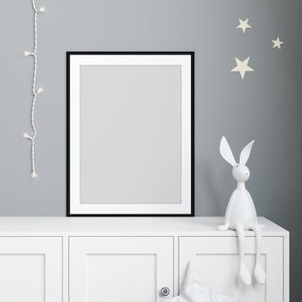Maquette affiche à l'intérieur de la chambre d'enfant, affiche sur fond de mur gris clair vide rendu 3d