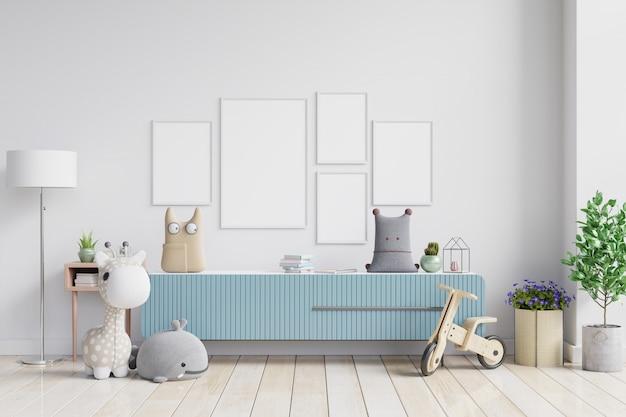 Maquette affiche avec minimaliste hipster pastel vintage sur armoire.