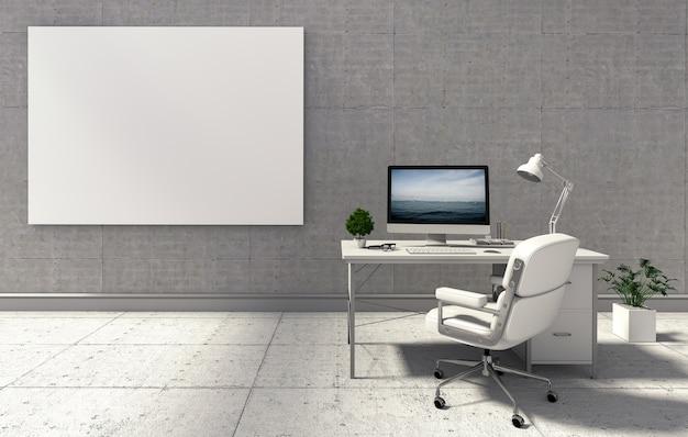 Maquette affiche sur le mur de béton avec ordinateur de bureau. rendu 3d