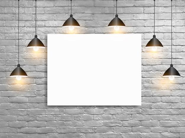 Maquette affiche avec des plafonniers mur de briques blanches