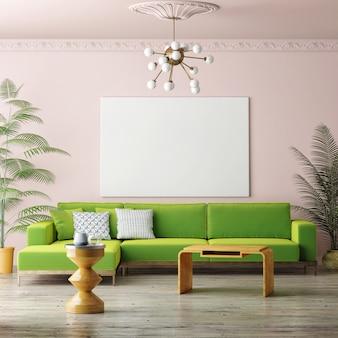 Maquette affiches canapé confortable pastel style de salon