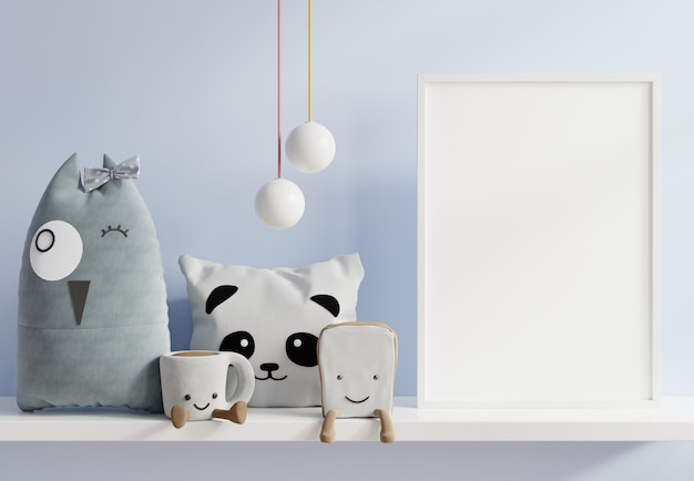 Maquette d'affiches à l'intérieur de la chambre d'enfant, affiches sur mur bleu vide, rendu 3d