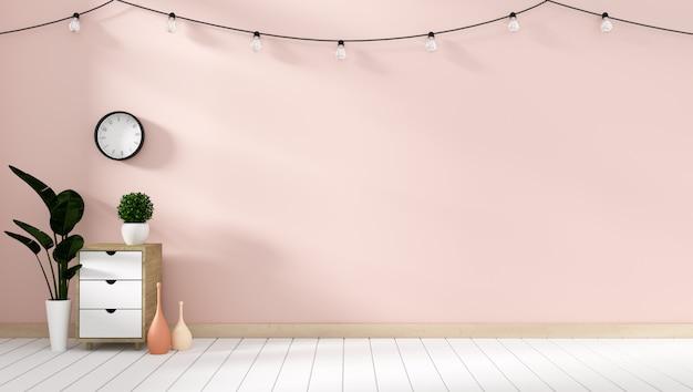 Maquette armoire d'affichage moderne dans le salon rose avec un plancher en bois blanc. rendu 3d