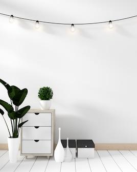 Maquette armoire à affiches moderne dans le salon blanc avec parquet blanc. rendu 3d